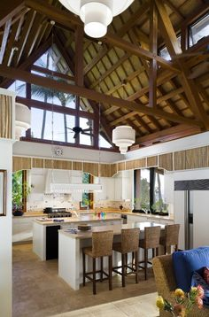 This ceiling and roof interior is beautiful! Hawaii Kitchen Bamboo Design, Pictures, Remodel, Decor and Ideas - page 3 Tropical Kitchen, Tropical Decor, Tropical Design, Shabby Chic Kitchen, Kitchen Decor, Kitchen Design, Hawaiian Homes, Interior Styling, Interior Design