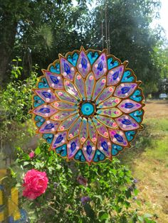 Handmade Mandala sun catcher window cling sticker decal home decor Housewares stained glass look FRE Glass Garden Art, Glass Art, Garden Totems, Mosaic Glass, Stained Glass, Fused Glass, Indian Mandala, Window Clings, Plate