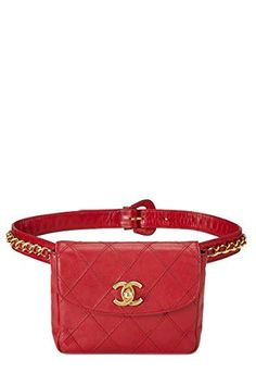 CHANEL Red Quilted Lambskin Belt Bag 30 (Pre-Owned)