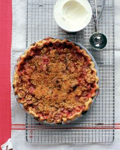 """As in rhubarb crumb pie; some fruit fillings might be a tad sweet for the crumble topping, but not this one that's all rhubarb. See the """"Rhubarb Pie"""" in our Rhubarb Recipes gallery Rhubarb Crumble, Pie Crumble, Crumble Topping, Rhubarb Rhubarb, Growing Rhubarb, Potluck Desserts, Delicious Desserts, Pavlova, Mothers Day Desserts"""