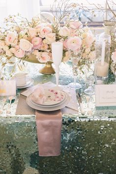 Cherry blossom wedding inspiration with pink flowers and metallic accents | Design: Modern LA Weddings | Florals: Lotus & Lily Florals | Lines: Luxe Linen | See the wedding inspiration: http://www.xaazablog.com/romantic-pink-and-wedding-inspiration/ #cherryblossomwedding #weddingdecor #floraldecor