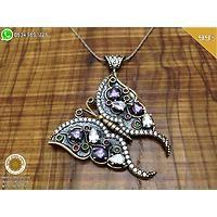 Ametist Taşlı Kelebek Model Gümüş Bayan Otantik Kolye Ucu (STOK KODU: 20130832)