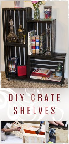 Step-by-step video on how to build your own shelves from crates...  DIY Crate Shelves