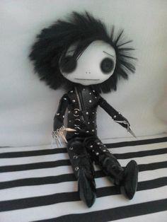 OOAK Edward Scissorhands Gothic Art Rag Doll by ChamberOfDolls