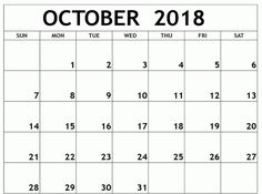 picture regarding Free Printable October Calendar known as 194 Suitable Oct 2018 Calendar pictures Blank calendar