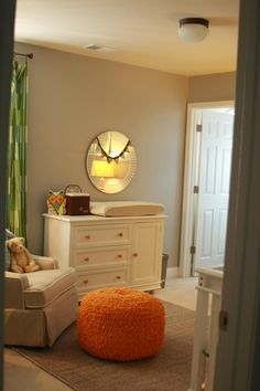Every room should have a fun #pouf like this #orange one!  #nursery