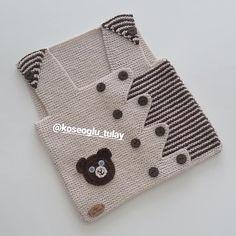 """1,528 Beğenme, 83 Yorum - Instagram'da Tülay Köseoğlu (@koseoglu_tulay): """"Günaydın arkadaşlar 💕 Sağlıklı mutlu bereketli bir hafta olması dileğiyle herkese sevgiler selamlar…"""" Baby Sweater Patterns, Baby Knitting Patterns, Crochet Patterns, Crochet Hooded Scarf, Viking Tattoo Design, Baby Vest, Baby Sweaters, Knitting Socks, Lana"""