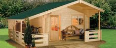 Log cabin kit by Home & Garden Centre, Wales: cabins range from 50 to 215 square feet. Priced from 2,200 to 5000 dollars.