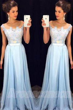 Lace Dresses,Prom Dresses For Teens,Boat Neckline Light Blue Prom Dresses,Long Lace Chiffon Prom Dresses,Simple Cheap Prom Gowns,Evening Dresses,Graduation Dresses