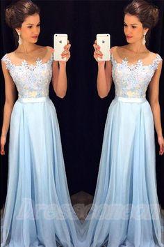 Lace Dresses,Prom Dresses For Teens,Boat Neckline Light Blue Prom Dresses,Long Lace Chiffon Prom Dresses,Simple Cheap Prom Gowns,Evening Dresses,Graduation Dresses