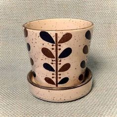 small ceramic jar with lid for herbs