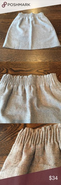 NWOT J. Crew Skirt New, never worn. Gathered elastic waist. Lined. 2 side pockets. 52% wool, 41% polyester, 7% other fibers. Lining: 100% polyester J. Crew Skirts Mini