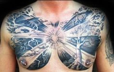 60 Family Tree Tattoo Designs For Men - Kinship Ink Ideas Full Chest Tattoos, Chest Tattoos For Women, Chest Piece Tattoos, Cloud Tattoo Design, Tatto Design, Tree Tattoo Men, Tree Tattoo Designs, Branch Tattoo, Neck Tattoo For Guys