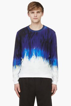 MSGM Purple Abstract Graphic Crewneck Sweater