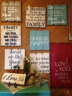 Find your favorite sayings at Country Furniture & Gifts at Gardner Village! {love the wood backgrounds used for making these signs... inspirational idea.} Wooden Pallets, Wooden Pallet Crafts, Used Pallets, Wooden Diy, Pallet Art, Pallet Ideas, Pallet Projects, Pallet Designs, Old Fences