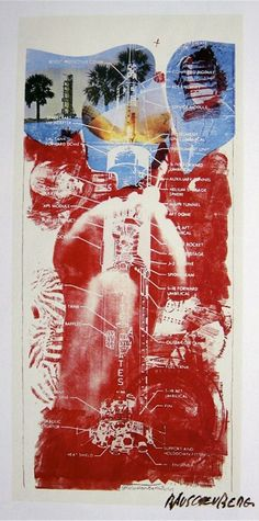 """Robert Rauschenberg, """"Sky Garden"""" (1969), lithograph on canvas. For this piece, part of the Stoned moon series, NASA gave Rauschenberg scientific maps, charts, and photographs from the Apollo 11 launch"""