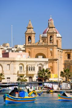 Malta, South Coast, Marsaxlokk, Our Lady of Pompeii church and the harbor