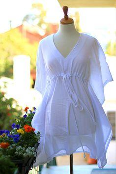 Mini Caftan Dress - Beach Cover Up Kaftan in White Cotton Gauze - Lots of Colors Strand Kaftan, Mode Kimono, Kimono Style, Beach Dresses, Dress Beach, Beach Kaftan, Kaftan Tops, Mini Vestidos, Looks Chic