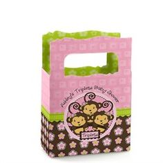 Triplet Monkey Girls - Personalized Baby Shower Mini Favor Boxes
