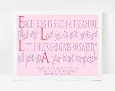 8x10 Print Little Girl Quotes, Baby Poems For Girls, Nursery Wall Art, Ella