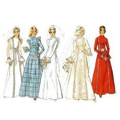 Long Sleeved Wedding Dress with Princess Seams Sewing Pattern Simplicity 5313 Sz 12 1970s Wedding Dress, Pink Wedding Dresses, Wedding Dresses With Straps, Tea Length Wedding Dress, Country Wedding Dresses, Wedding Dress Patterns, Wedding Dress Sleeves, Long Sleeve Wedding, Princess Wedding Dresses
