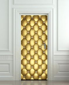Extra long sticky poster for door wall or fridge - diamond golden leather door entrance home portal Cover wrap skin decole Size x x cm Amazing illusion for your interior Door Stickers, Removable Wall Stickers, Wall Stickers Murals, Home Portal, 3d Wall Tiles, Peel And Stick Vinyl, Front Door Design, Beautiful Posters, Door Wall