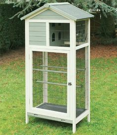 La Ferme De Beaumont - Voliere Azur Volière Oiseaux En Bois Pour Intérieur Ou Extérieur Lasuré Blanc: Amazon.fr: Animalerie Bird Cage Design, Diy Bird Cage, Diy Parakeet Cage, Baby Squirrel Care, Diy Bird Toys, Large Bird Cages, Outdoor Cat Enclosure, Wooden Bird Houses, Pets