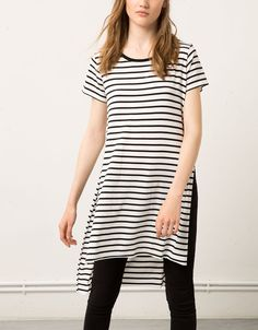 Bershka United Kingdom - Bershka extra long striped top with open sides