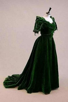 Green late 1800's gown.