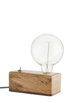 Exposed Bulb Wooden Box Table Lamp - Table Lamps - Lighting