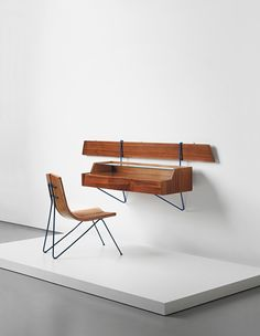 Sergio Conti Attributed; Unique Wall-Mounted Dressing Table, c1958.