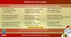 """MISIONEROS DE LA PALABRA DIVINA: MEDITACIÓN DEL EVANGELIO - """"Él les dará otro Parác..."""