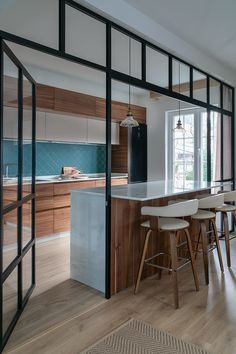 The modern renovation of a standard Basque home – PLANETE DECO a properties world Kitchen Room Design, Modern Kitchen Design, Kitchen Interior, Architecture Renovation, Home Renovation, Home Remodeling, Küchen Design, House Design, Interior Design