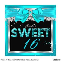 Sweet 16 Teal Blue Glitter Glam Birthday Party 5.25x5.25 Square Paper Invitation Card by Zizzago
