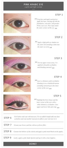 Cute pink arabic eye makeup
