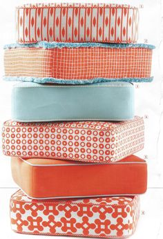 Love the tangerine and turquoise outdoor fabrics.