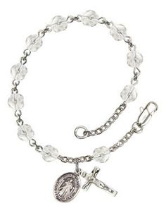 Divine Mercy Silver-Plated Rosary Bracelet with 6mm Crystal Fire Polished beads