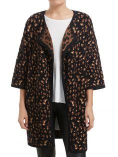 Animal Print Knit Coat