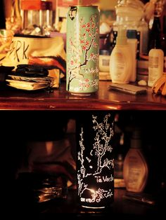 arizona tea can candle. poke out holes along the tree on the can, and put in an electric candle