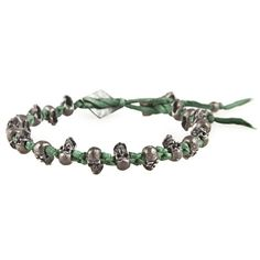 M. Cohen Knotted Silk Skull Bracelet ($400) ❤ liked on Polyvore featuring jewelry, bracelets, accessories, men, men bracelet, vintage style jewelry, skull jewelry, oxidized jewelry, skull bracelet and m. cohen