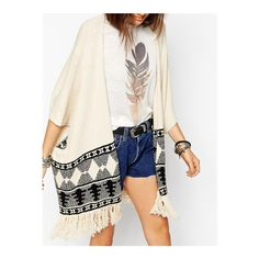SheIn(sheinside) Beige Geometric Print Tassel Cardigan ($22) ❤ liked on Polyvore featuring tops, cardigans, beige, knit cardigan, aztec poncho, fringe cardigan, embellished cardigan e aztec print cardigan