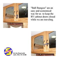 How to keep your RV cabinet doors closed on the road Camping Storage, Camping Tips, Rv Cabinets, Cupboard Doors, Travel Hacks, Closed Doors, Canopy, Tent, Simple