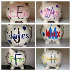Personalized Piggy Bank - Baby Shower Gift - Expectant Mom New Mom - Gift for Baby Girls Boys Vinyl Crafts, Vinyl Projects, Crafts To Do, Craft Projects, Little Girl Crafts, Personalized Piggy Bank, Dream Baby, Gifts For New Moms, Baby Girl Gifts