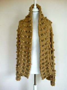 Roberto Cavalli Beige Cardigan Coat With Knitted Bobble Details via The Queen Bee. Click on the image to see more!