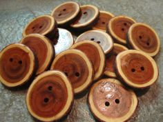 16 Yew Wood Tree Branch Buttons. About 1.25 by PymatuningCrafts, $10.40