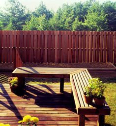 Redwood deck, bench, and fence- so many uses!