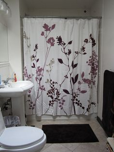 my new shower curtain  Reflections Purple Fabric Shower Curtain from Bed Bath Beyond purple gray silver color combo LOVE Pretty with