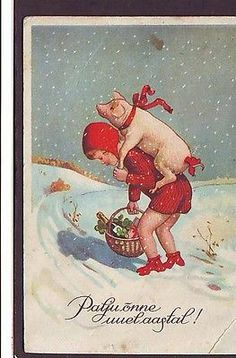 used 1938 HAPPY NEW YEAR POSTCARD GIRL w PIG IN SNOW , WINTER , ESTONIA