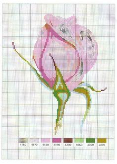 model de cusut: trandafir boboc roz