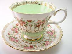 Royal Albert  Tea Cup And Saucer, Royal Albert Green Park series,  Royal Albert pink roses, English tea cup and saucer set.